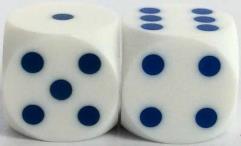 16mm Precision Backgammon - White w/Blue (2)
