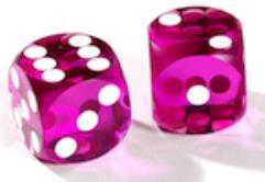 12.5mm Precision Backgammon Dice Pairs - Pink w/White (2)