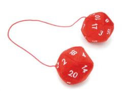 20 Sided Dice Dangler Plush Red w/White
