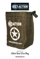 Bolt Action Allied Star Dice Bag & Order Dice - Green w/ Black (12)