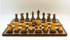 "3.75"" Burnt Ebonized/Boxwood Parker Chessmen w/Double Queens on Ebony/Maple Inlaid Chess Board"