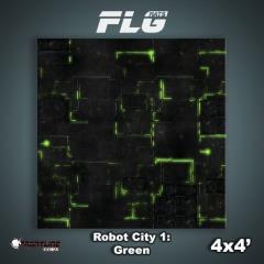 4' x 4' - Robot City #1, Green