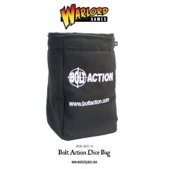 Bolt Action Dice Bag & Order Dice - Black w/ White (12)