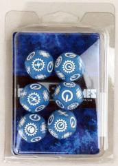 Dice Set - Blue w/White (6)