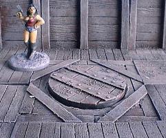 6x6cm Wooden Mine Floor w/Circular Hatch Cover