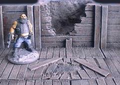 6cm Wooden Mine Wall w/Damaged to Center