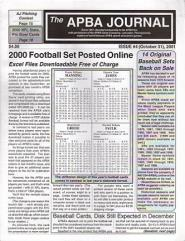 "#4 ""Modifications to the Basic Baseball Game, Revised 2001 Football Rosters, 2000"