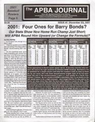 "#5 ""2001 - Four Ones for Barry Bonds?, 2001 Baseball Rosters, APBA Hall of Fame"""