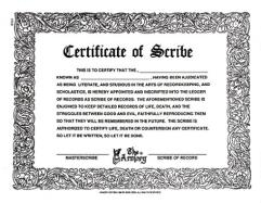 Certificate of Scribe