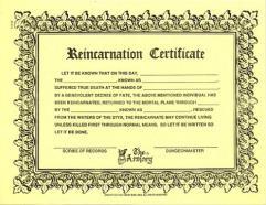 Reincarnation Certificate