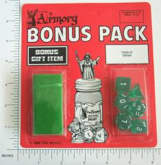 Poly Set Green w/White (6) & Green Dice Bag