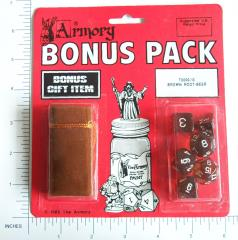 Poly Set Brown Root-Beer w/White (6) & Brown Dice Bag