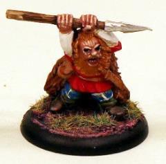 Dwarf Roaring in Fur Cloak w/Spear