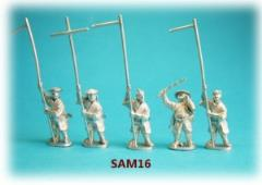 Ashigaru Retainers Holding Banner Poles