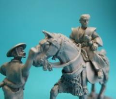 Mounted Samurai Lord w/Raised Sword and Retainer (Bare Headed)