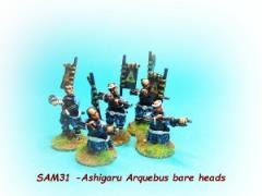 Ashigaru Arquebus Pack w/Bare Heads