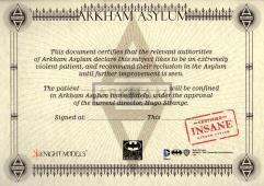 Arkham Asylum Certificate of Insanity