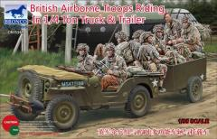 British Airborne Troops Riding in 1/4 Ton Truck & Trailer