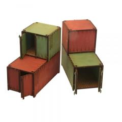 Shipping Containers - Red & Green