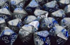 D6 16mm Blue & Steel w/White (12)