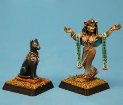 Priestess of Bast w/Bastet Statue