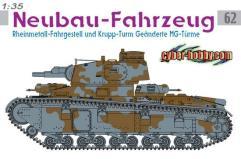 Neubau-Fahrzeug - Rheinmetal-Fahrgestell und Krupp-Turm Geanderte MG-Turme