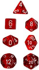 Miniature Poly Set - Translucent Red w/White (7)