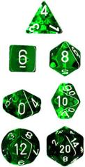 Miniature Poly Set - Translucent Green w/White (7)