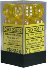 d6 16mm Yellow w/White (12)