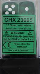 d6 16mm Green w/White (12)
