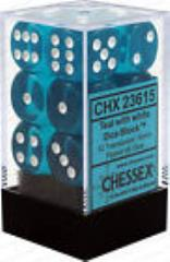 d6 16mm Teal w/White (12)