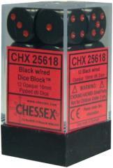 d6 16mm Black w/Red (12)