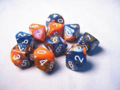 D10 Blue & Orange w/White (10)