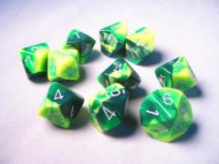 D10 Green & Yellow w/Silver (10)
