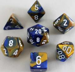Poly Set Blue & Gold w/White (7)