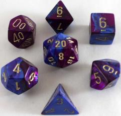 Poly Set Blue & Purple w/Gold (7)