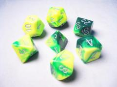 Poly Set Green & Yellow w/Silver (7)