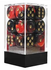 D6 16mm Black & Red w/Gold (12)