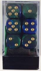 D6 16mm Blue & Green w/Gold (12)