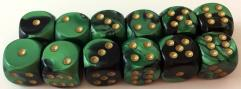 D6 16mm Black & Green w/Gold (12)