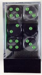 D6 16mm Black & Grey w/Green (12)