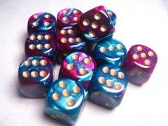 D6 16mm Purple & Teal w/Gold (12)