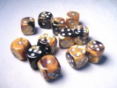 D6 16mm Black & Gold w/Silver (12)