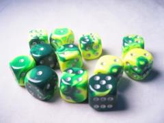 D6 16mm Green & Yellow w/Silver(12)