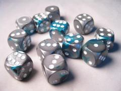 D6 16mm Steal & Teal w/White(12)