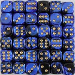 D6 12mm Black & Blue w/Gold (36)