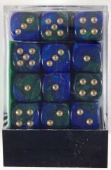 d6 12mm Blue & Green w/Gold (36)