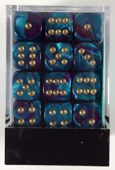 D6 12mm Purple & Teal w/Gold (36)