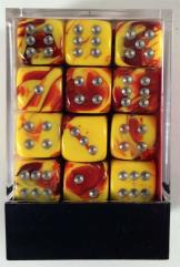 d6 12mm Red & Yellow w/Silver (36)