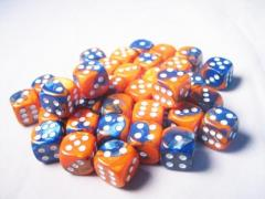 D6 12mm Blue & Orange w/White (36)